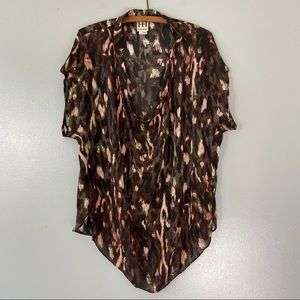 Haute Hippie Silk Printed Loose Drape Blouse - M